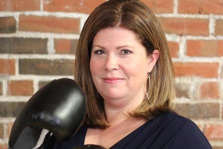 Jamie Pandolfo with boxing gloves