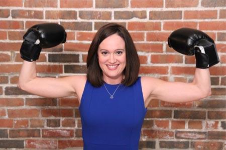 Karen Kreutziger with boxing gloves