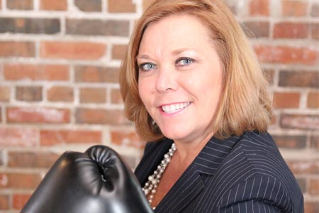 Mary Ropp with boxing gloves