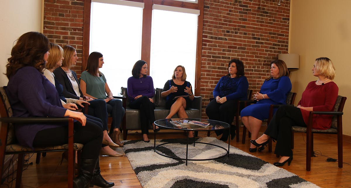 Left to Right:  Ronda Benton (Processing Manager), Ronda Hickey (Senior Mortgage Banker), Sarah Craig (Chief Financial Officer), Emily Harvey (Human Resources Director), Karen Kreutziger (Chief Operations Officer), Mary Ropp (Director of Sales and Marketing), Kelle Walters (Senior Mortgage Banker), Jamie Pandolfo (Area Sales Manager), Kimberly Lodge (Online Connect Manager).